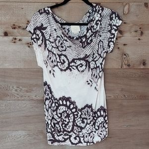 Vanessa Virginia Lace Printed Cowl Neck Top Size S